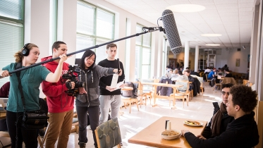 Students participate in a film project.